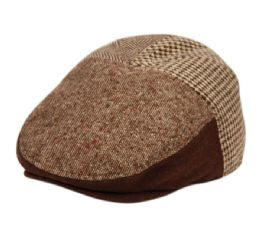 12 Units of Herringbone Houndstooth Wool Ivy Cap With Fleece Earlap And Lining In Brown - Fedoras, Driver Caps & Visor