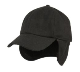 12 Units of Wool Blend Earflap Cap With Sherpa Lining In Black - Fedoras, Driver Caps & Visor