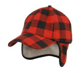 12 Units of Wool Blend Earflap Cap With Sherpa Lining In Buffalo Plaid - Fedoras, Driver Caps & Visor