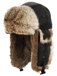 4 Units of Winter Faux Fur Bomber Trapper Hat In Black - Trapper Hats