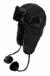 12 Units of Winter Faux Fur Knit Trapper Hat With Chin Cod And Pom Pom - Trapper Hats