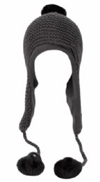 12 Units of Winter Knit Trooper Hat With Pom Pom And Chin Cod - Fashion Winter Hats