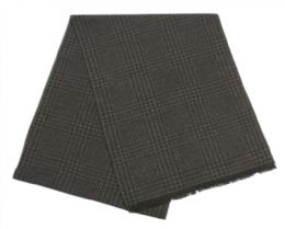 12 Units of Mens Cashmere Feel Soft Plaid Scarf In Dark Grey - Winter Scarves