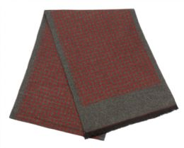 12 Units of Mens Cashmere Feel Check Dots Scarf In Burgandy - Winter Scarves