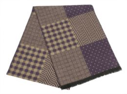 12 Units of Mens Cashmere Feel Multi Pattern Scarf - Winter Scarves