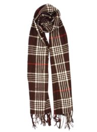 24 Units of Plaid Soft Cashmere Feel Scarf in Brown - Winter Scarves