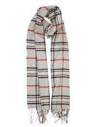 24 Units of Plaid Soft Cashmere Feel Scarf in Gray - Winter Scarves