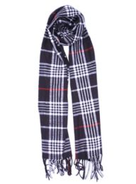 24 Units of Plaid Soft Cashmere Feel Scarf in Navy - Winter Scarves
