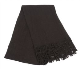 18 Units of Mens Winter Solid Knit Scarf In Black - Winter Scarves