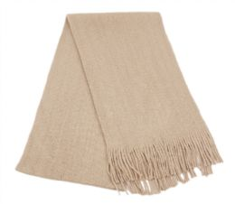 18 Units of Mens Winter Solid Knit Scarf In Khaki - Winter Scarves