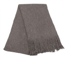 18 Units of Mens Winter Solid Knit Scarf In Charcoal - Winter Scarves
