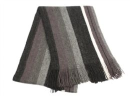 18 Units of Mens Winter Knit Stripe Scarf In Black - Winter Scarves