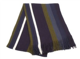 18 Units of Mens Winter Knit Stripe Scarf In Navy - Winter Scarves