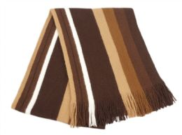 18 Units of Mens Winter Knit Stripe Scarf In Brown - Winter Scarves