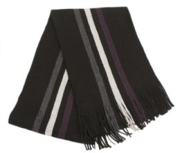 18 Units of Mens Winter Knit Stripe Scarf In Black - Winter Scarves
