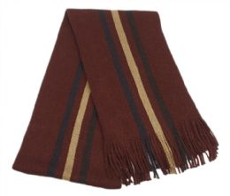 18 Units of Mens Winter Knit Stripe Scarf In Burgandy - Winter Scarves
