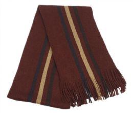 18 Units of Mens Winter Knit Stripe Scarf In Burgandy - Winter Scarves