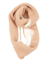 12 Units of Ladies Wool Blend Knit Infinity Scarf With Sherpa Lining - Winter Scarves