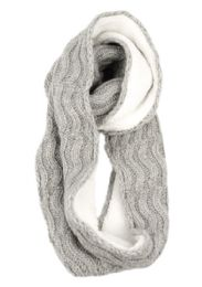 12 Units of Wool Blend Cable Knit Infinity Scarf With Sherpa Lining - Winter Scarves