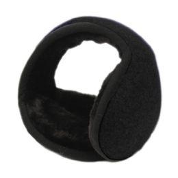 18 Units of Winter Ear Warmer With Faux Fur Lining In Black - Ear Warmers