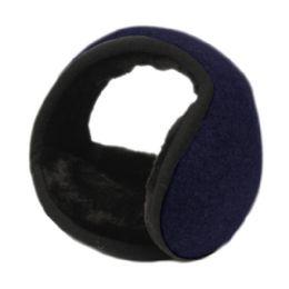 18 Units of Winter Ear Warmer With Faux Fur Lining In Navy - Ear Warmers