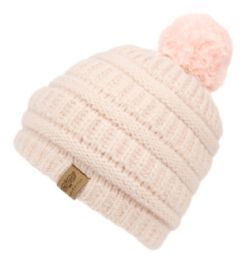12 Units of Kids Solid Color Cable Knit Beanie With Pom Pom And Sherpa Lining - Junior / Kids Winter Hats
