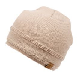 24 Units of Solid Color Kids Winter Knit Beanie With Sherpa Lining - Junior / Kids Winter Hats