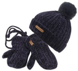 12 Units of Kids Chenille Knit Pom Pom Beanie Mitten Set Assorted Color - Junior / Kids Winter Hats