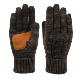 12 Units of Ladies Cable Knit Winter Glove With Screen Touch And Suede Palm Patch In Multi Black - Conductive Texting Gloves