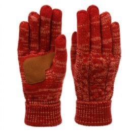 12 Units of Ladies Cable Knit Winter Glove With Screen Touch And Suede Palm Patch In Multi Burgandy - Conductive Texting Gloves