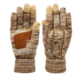 12 Units of Ladies Cable Knit Winter Glove With Screen Touch And Suede Palm Patch In Multi Khaki - Conductive Texting Gloves