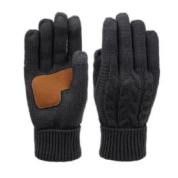12 Units of Ladies Cable Knit Winter Glove With Screen Touch And Suede Palm Patch In Black - Conductive Texting Gloves