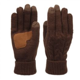 12 Units of Ladies Cable Knit Winter Glove With Screen Touch And Suede Palm Patch In Brown - Conductive Texting Gloves