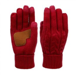 12 Units of Ladies Cable Knit Winter Glove With Screen Touch And Suede Palm Patch In Burgandy - Conductive Texting Gloves