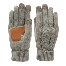 12 Units of Ladies Cable Knit Winter Glove With Screen Touch And Suede Palm Patch In Dark Grey - Conductive Texting Gloves