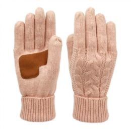 12 Units of Ladies Cable Knit Winter Glove With Screen Touch And Suede Palm Patch In Indi Pink - Conductive Texting Gloves