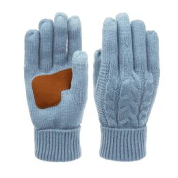 12 Units of Ladies Cable Knit Winter Glove With Screen Touch And Suede Palm Patch In Inigo Blue - Conductive Texting Gloves