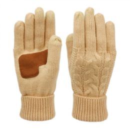 12 Units of Ladies Cable Knit Winter Glove With Screen Touch And Suede Palm Patch In Khaki - Conductive Texting Gloves