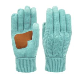 12 Units of Ladies Cable Knit Winter Glove With Screen Touch And Suede Palm Patch In Mint - Conductive Texting Gloves