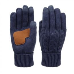12 Units of Ladies Cable Knit Winter Glove With Screen Touch And Suede Palm Patch In Navy - Conductive Texting Gloves