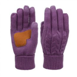 12 Units of Ladies Cable Knit Winter Glove With Screen Touch And Suede Palm Patch In Purple - Conductive Texting Gloves