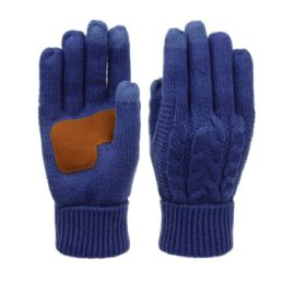 12 Units of Ladies Cable Knit Winter Glove With Screen Touch And Suede Palm Patch In Royal - Conductive Texting Gloves