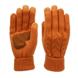 12 Units of Ladies Cable Knit Winter Glove With Screen Touch And Suede Palm Patch In Rust - Conductive Texting Gloves