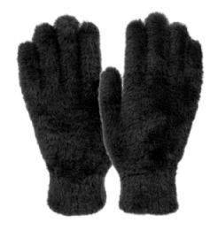 12 Units of Ladies Soft Fur Winter Glove In Black - Fuzzy Gloves