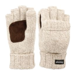 12 Units of Half Finger Wool Knit Gloves With Finger Cover And Palm Patch - Conductive Texting Gloves
