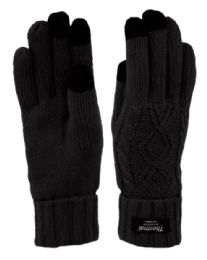 12 Units of Thermal Knit Gloves With Screen Touch In Black - Winter Gloves