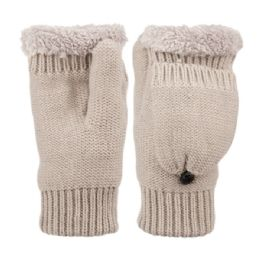 12 Units of Fingerless Winter Knit Mittens With Cover And Sherpa Lining - Fleece Gloves