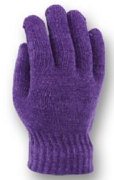 48 Units of Ladies Knit Chenille Glove In Assorted Color - Knitted Stretch Gloves