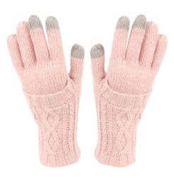 12 Units of Double Layer Knit Gloves With Screen Touch In Assorted Color - Conductive Texting Gloves