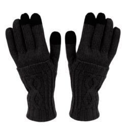 12 Units of Double Layer Knit Gloves With Screen Touch In Black - Conductive Texting Gloves
